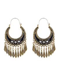 YAZILIND Bohemian Vintage Alloy Plated Silver Bronze Moon Shape Craving Tassel Drop Dangle Hook Earrings Women Girls Gift