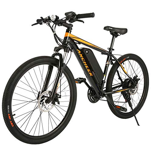 - ANCHEER Electric Mountain Bike 27.5'' /26'' Electric Bicycle, Newest 350W Ebike with Removable 36V 10.4Ah/7.8Ah Lithium-Ion Battery for Adults, Shimano 24/21 Speed and LCD/LED Display (Red Sunshine)
