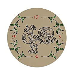 Polyester Round Tablecloth,Kitchen Decor,Rooster and Floral Art Decorative Clock Time Swirls Leaves Farm Animal Theme Decoration,Grey Green,Dining Room Kitchen Picnic Table Cloth Cover,for Outdoor In