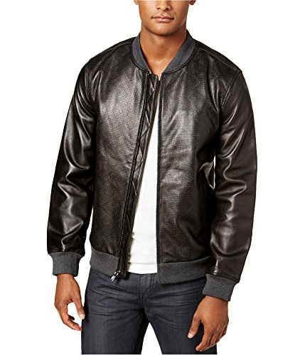 Alfani Mens Perforated Motorcycle Jacket Black XL from Alfani