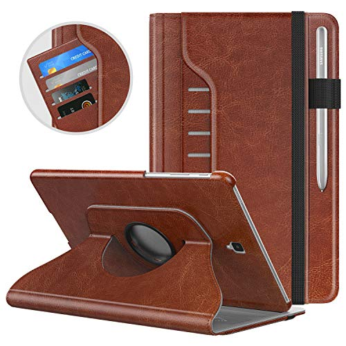 MoKo Case for Samsung Galaxy Tab S4 10.5, [5 Angle Viewing] 360 Degree Rotating Stand Ultra Slim PU Leather Cover with Auto Wake/Sleep for Galaxy Tab S4 10.5 (SM-T830/T835/T837) 2018 Tablet - Brown (Best Protection For Samsung Galaxy S4)