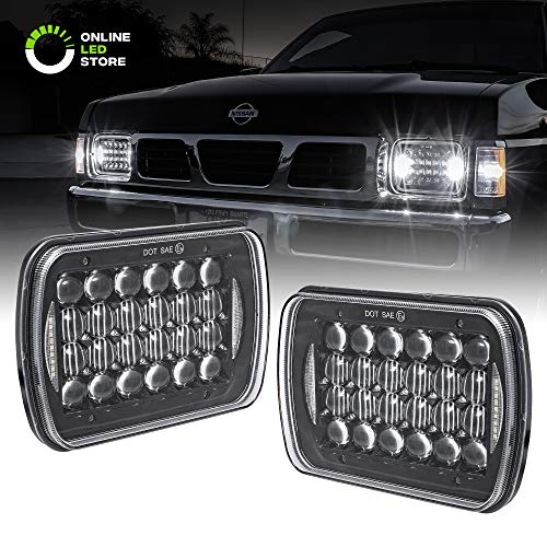 2pc 7x6 LED Sealed Beam Headlight Assembly [6,000 Lumens] [Black Housing + DRL] Head Lamp Replacement for Jeep Wrangler YJ & More