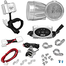 Pyle 600 Watt Weatherproof Motorcycle Speaker and Amplifier System w/ Two 2.25 Inch Waterproof Speakers, AUX - Handlebar Mount ATV Mini Stereo Audio Receiver Kit Set - Also for Marine Boat - PLMCA62BT