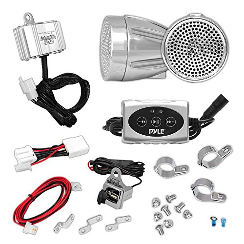 Updated Motorcycle Audio System - 600 Watts Speaker and Amplifier - ATV/Snowmobile Mount 2 Channel - 2 2.25-Inch Waterproof Speakers, Handlebar Mount Aluminum Die-Cast - Bullet Style Chrome (2' Receiver Mount 3 Bike)