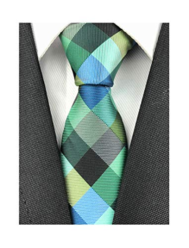 (Elfeves Men Modern Tartan Formal Ties Checks Plaid Gingham Pattern Woven Necktie (One Size, Plaid 1))