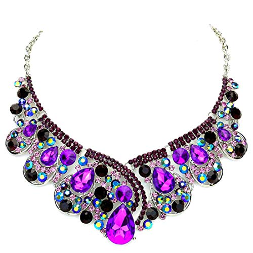 (Affordable Wedding Jewelry Chunky Purple Ab Rhinestone Crystal Statement Silver Chain Necklace)