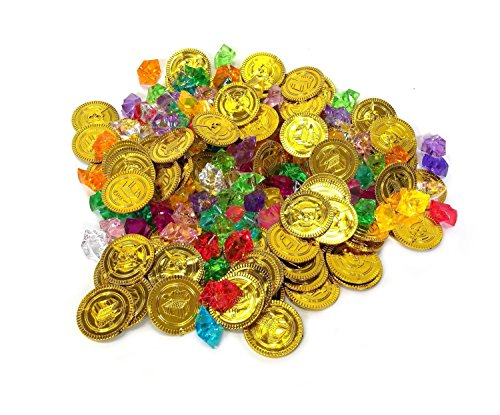 200 Pieces Pirate Treasure Coins and Assorted Pirate Gems(100 Coins+100 Gems)