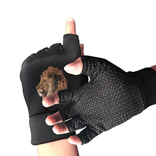 Agilitynoun Bike Half Finger Gloves Lion Unisex Anti-Slip Shockproof Foam Padded Gel Pad Gym Boxing Sports Gloves]()