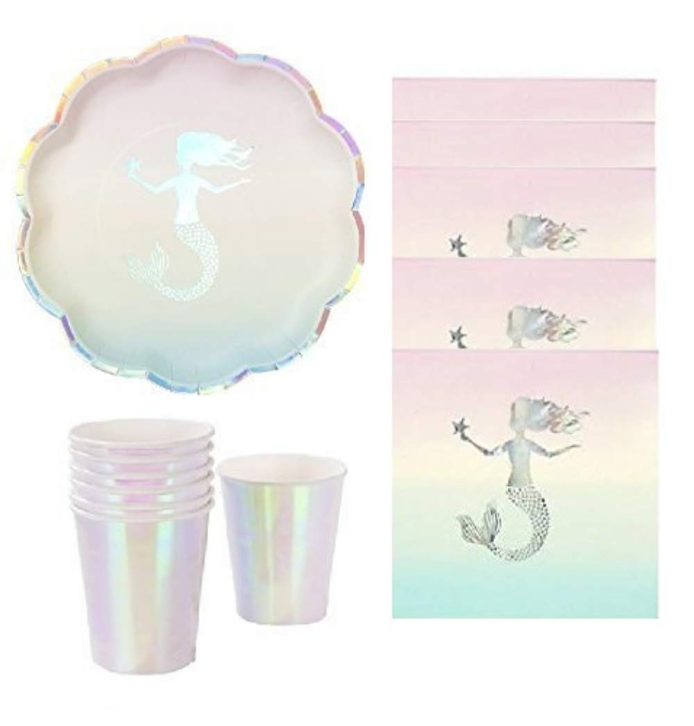 Mermaid Party opalescent Elegant Party Supplies Silver Foil Stamped Mermaid Plates & Napkins with Iridescent Matching Cups