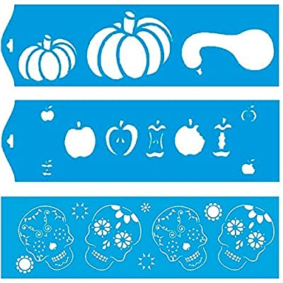 """Set of 3 - 11"""" x 3.3"""" (28cm x 8cm) Reusable Flexible Plastic Stencil for Graphical Design Airbrush Decorating Wall Furniture Fabric Decorations Drawing Drafting Template - Halloween Pumpkin Apple Skull"""