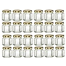 Nakpunar 24 pcs , 1.5 oz Mini Hexagon Glass Jars with Gold Plastisol Lined Lids