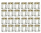 Nakpunar 24 pcs 1.5 oz Hexagon Glass Jars with Gold Lids - 45 ml