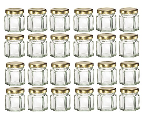 Nakpunar 24 pcs , 1.5 oz Mini Hexagon Glass Jars with Gold Plastisol Lined Lids