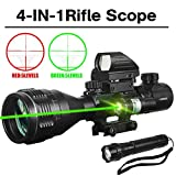 AR15 Tactical Rifle Scopes 4-12X50AOEG Dual Ill Optical Reticle Scope with Holographic R&G Dot Sight Green Laser Weaver/Picatinny Mount(24 Month Warranty)