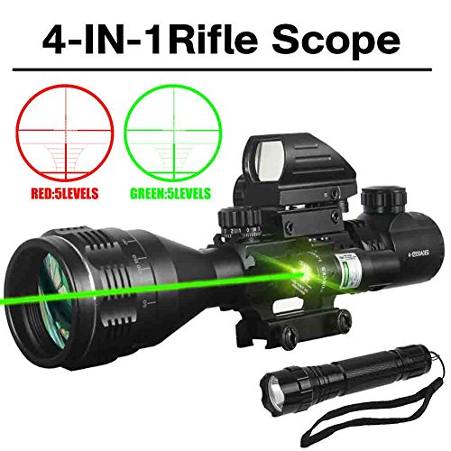 AR15 Tactical Rifle Scope Combo C4-12x50 with R&G Laser and 4 Holographic Red&Green Dot Sight for 22&11mm Weaver/Picatinny Rail Mount (4-12X50AOEG+HD103 Red dot+JG8 Green laser + LED flashlight)