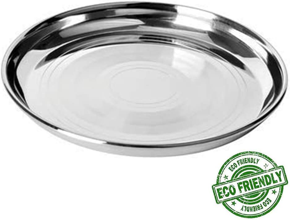 Stainless Steel Camping Tableware Dish Plate Food Organizer Serving Tray Pan