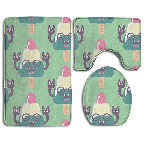 Strange Ice Cream 3-Piece Soft Bath Rug Set Includes Bathroom Mat Contour Rug Lid Toilet Cover Home Decorative Doormat