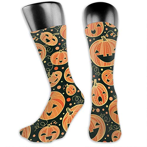 KIMILT HEY Women Men Halloween Pumpkin Patterns Gothic Art Stockings Hip-Hop Crazy 3D Tie-Dye Casual Crew Tube Socks
