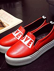 ZQ gyht Zapatos de mujer-Plataforma-Comfort-Mocasines-Exterior / Casual-Semicuero-Negro / Rojo , red-us8 / eu39 / uk6 / cn39 , red-us8 / eu39 / uk6 / cn39