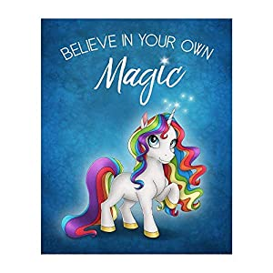 Rainbow Unicorn 8×10 Motivational Art Print with Blue Background Color