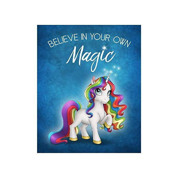 Rainbow Unicorn 8x10 Motivational Art Print with Blue Background Color 3