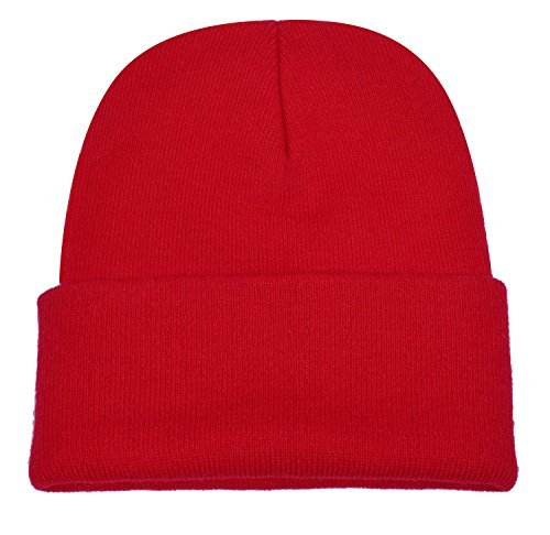 PZLE Winter Hats Red Beanie Skull Caps Knit Hat Ski Cap Cuff Beanie Hats Red ...