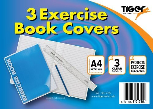 Pack of 3 A4 Exercise Book Clear Covers tiger