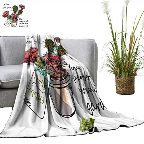 ll Size Blanket Sketch Prickly Pear Watercolor Style Exotic Tropic Succulent Plant for Window Garden Charisma blanke Multicolor W50 xL70 ()