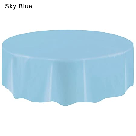 Siconght Large Round Plastic Table Cloth Cover Wipe Clean Party