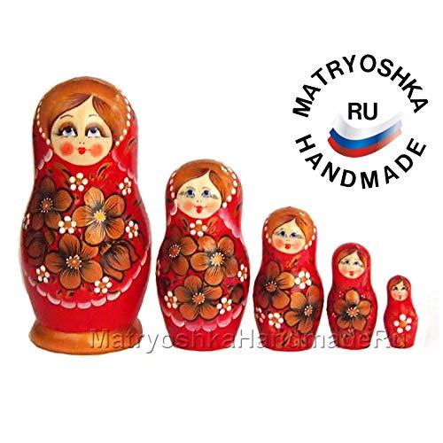 Nesting matryoshka doll in traditional Russian style, 5 doll set babushka toy made of -
