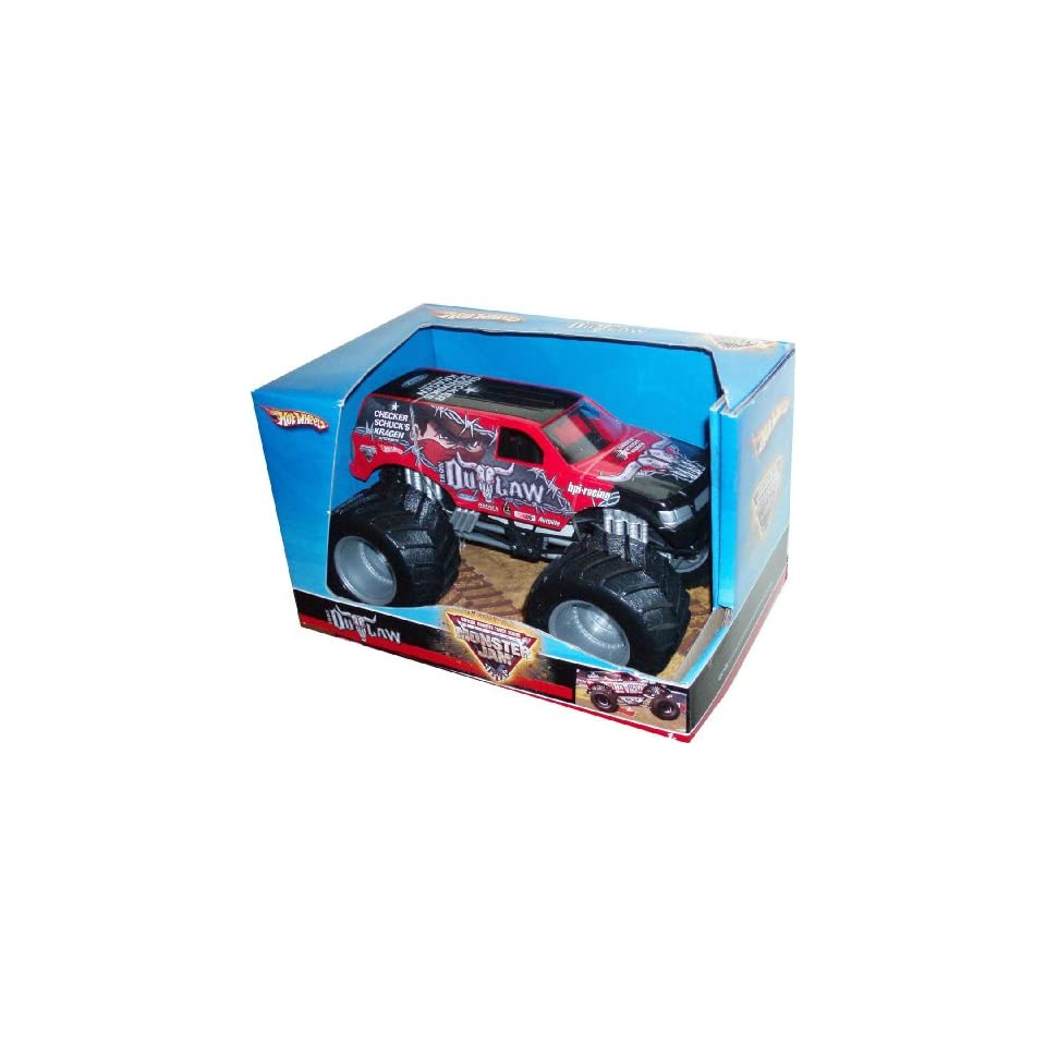Hot Wheels Monster Jam 124 Scale Die Cast Official Monster Truck 2008 Series   IRON OUTLAW with Monster Tires, Working Suspension and 4 Wheel Steering   Dimension  7 (L) x 5 (W) x 4 1/2 (H)