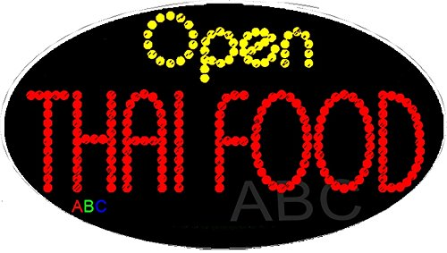 15''x27'' Animated Open Thai Food LED Sign w/Flashing Controller