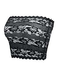 CENG MAU Women's Plus Size Long Floral Lace Unlined Stretchy Strapless Bras Tube Tops