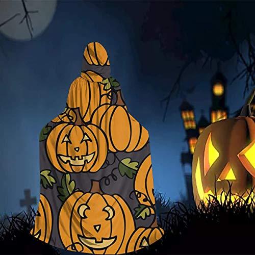 Scary Halloween Movies Full Length (Boys Girls Hooded Cape Full Length Cloak, Scary Halloween Pumpkin Comic Art Robe Poncho, Vintage Cosplay Costume for School Christmas)