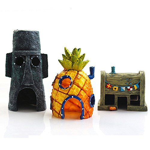 YANGEH Spongebob Fish Tank Ornament Aquarium Decorations Squarepants Ornaments Pineapple House (Pack of 3) ()
