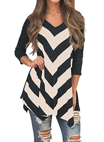 MIHOLL Womens Tunic Sleeve Striped