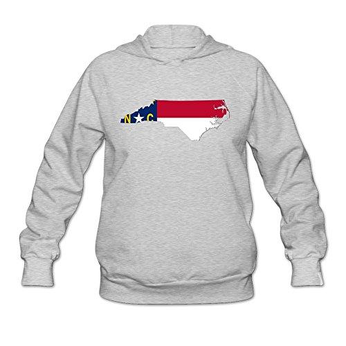 Flag Map Of North Carolina Fun 100% Cotton Ash Long Sleeve Sweatshirt For Womens Size L