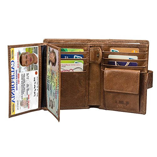 Allin1 Genuine Leather RFID Blocking Mens Wallets Trifold