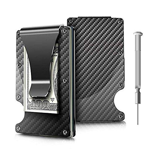 Money Clip, Carbon Fiber Wallet - Minimalist Wallets Credit Card Holder RFID Blocking Wallets Carbon Fiber Money Clip For Men Or Women (black) by BAOHOKE