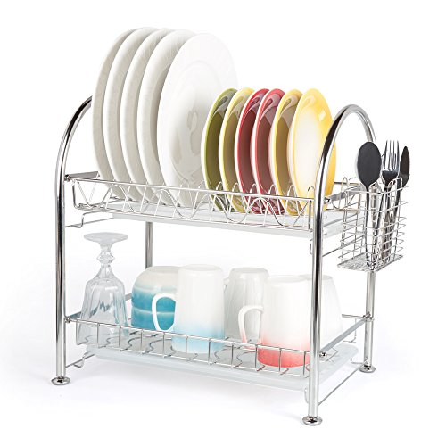 Hoomeet 2-Tier Dish Rack stainless steel dish drainer with Cutlery holder & 2 Dip Trays