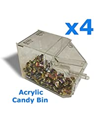 Acrylic Candy Bakery Cereal Dispenser Bins With Scoop 4 QTY