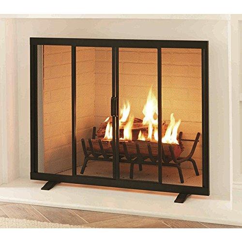 38.97-in Black Powder Coated Steel Flat Twin Fireplace Screen