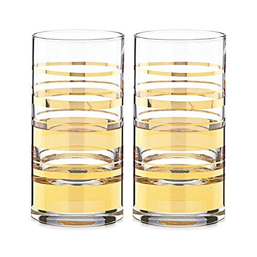 kate spade new york Hampton Street Hiball Glasses, Set of 2 - Gold by kate spade new york