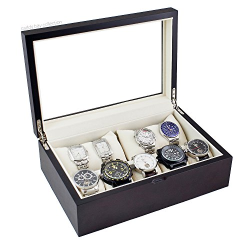 Caddy Bay Collection Wood Watch Case Holds 10+ Watches Black Walnut Finish with Glass Top Lid and High Clearance for Large Watches