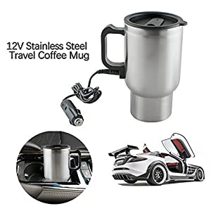 Heated Travel Mug, ixaer 12V 450ml In-Car Heated Mug Stainless Steel Cup Vacuum Insulated Smart Temperature Control Travel Mugs for Heating Water, Coffee, Milk and Tea with Airtight Lid, Auto Charger