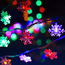 FVTLED LED String Lights 5m 40LEDs LED Flashlight Battery Operated Snowflake Decorative Lighting for Party Wedding Christmas, Home Fence Patio Garden Decoration