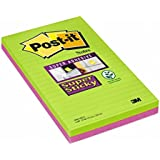 Post-it Super Sticky Notes - Lined Ultra Colours - 4 Pads Per Pack - 45 Sheets Per Pad - 125 mm x 200 mm (colors will vary)