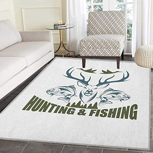 Hunting Area Silky Smooth Rugs Artistic Animals Emblem Moose Head Horns Trout Salmon Sea Fishes Floor Mat Pattern 2'x3' Olive Green Slate Blue White