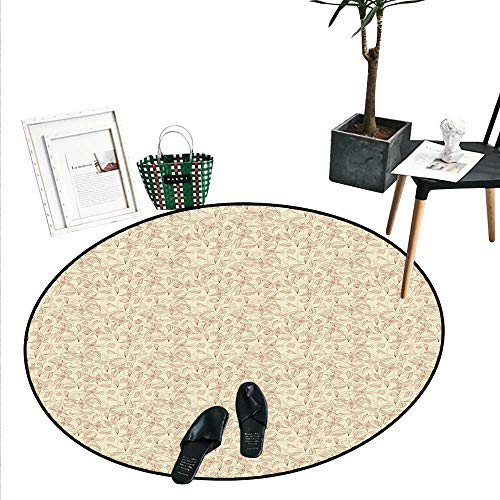 Beige Round Small Door Mat Vintage Flower Pattern Abstract Lined Foliage Arrangement Leaves Retro Art Nouveau Indoor/Outdoor Round Area Rug (2' Diameter) Beige Redwood