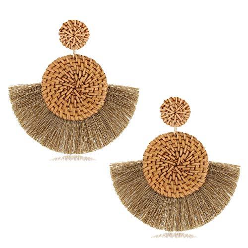 CEALXHENY Rattan Earrings for Women Handmade Straw Wicker Braid Drop Dangle Earrings Lightweight Geometric Statement Earrings (F Brown Tassel) (Brown Drop Earrings)